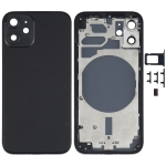Back Housing Cover with SIM Card Tray & Side  Keys & Camera Lens for iPhone 12 mini(Black)