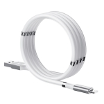 REMAX RC-125i 2.1A USB to 8 Pin Magnetic Data Cable, Cable Length: 1m(White)