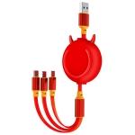 KO42 1.2m 3A 3 in 1 USB to 8 Pin + USB-C / Type-C + Micro USB Bull Head Retractable Data Cable