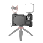 YELANGU C23 Video Camera Cage Stabilizer with PC Case for iPhone 11 Pro Max(Black)