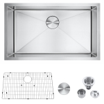 [US Warehouse] Stainless Steel Single Bowl Kitchen Sink, Size: 30x18x9 inch