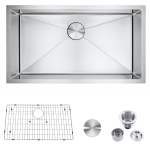 [US Warehouse] Stainless Steel Single Bowl Kitchen Sink, Size: 32x18x9 inch