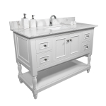 [US Warehouse] Engineered Stone Marble Color Bathroom Vanity with Rectangle Undermount Ceramic Sink & Single Faucet Hole & Back Splash, Size: 43 x 22 inch