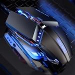 YINDIAO 3200DPI 4-modes Adjustable 7-keys RGB Light Wired Metal Mechanical Hard Core Macro Mouse, Style: Silent Version (Black)
