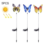 5 PCS SZ-15022B Solar Butterfly Light Outdoor IP65 Waterproof LED Decorative Lawn Lamp, Colorful Light