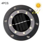 4 PCS 8 LEDs Solar Outdoor Garden Lawn Light Sensor Type Intelligent Light Control Buried Light, Warm White Light (Black)
