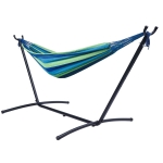 [US Warehouse] Double Classic Hammock with Carrying Pouch-Powder & Coated Steel Frame, Max 450 Lbs(Blue Green)