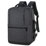 OUMANTU 1908 Large Capacity Men Laptop Backpack Business Travel Shoulders Bag with External USB Charging Port (Black)