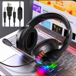 Q2 Head-mounted Wired Gaming Headset with Microphone, Version: Dual 3.5mm + USB (Black)