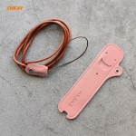 For JUUL Hat-Prince ENKAY Litchi Texture Full Surrounded PU Leather Case with Nylon Lanyard(Pink)