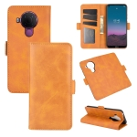 For Nokia 5.4 Dual-side Magnetic Buckle Horizontal Flip Leather Case with Holder & Card Slots & Wallet(Yellow)