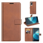 For vivo X60 Pro Retro Calf Pattern Buckle Horizontal Flip Leather Case with Holder & Card Slots & Wallet(Light Brown)