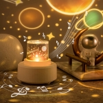 Moon Lamp Cartoon Fantasy Starry Sky Projector Lamp Indoor Atmosphere Colorful Night Light, Style: Music Box
