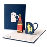 2 PCS Father Day 3D Stereo Beer Greeting Card Handmade Paper Carving Hollow Ming Card