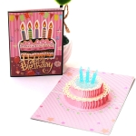 2 PCS Three-Dimensional Greeting Card 3D Color Gorgeous Cake Birthday Card