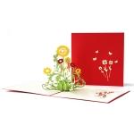 2 PCS Thanksgiving Three-Dimensional Greeting Card 3D Three-Dimensional Sunflower Handmade Small Card