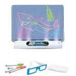 3D Fluorescent Drawing Board Magic Luminous Three-Dimensional Writing Board Graffiti Board Lighting Puzzle Children Drawing Board,Style: Large Drawing Board (Ocean Version)