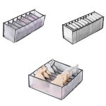 3 in 1 Underwear Drawer Storage Box Household Socks Folding Storage Box(Gray)