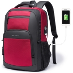BANGE BG-1921 College Student Schoolbag Waterproof Business Computer Backpack with External USB Charging Port(Red Wine)