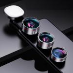 Wide Angle + Macro + Fisheye+ Fill Light Mobile Phone Lens Professional Shooting External HD Camera Set