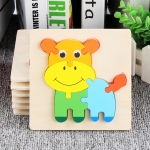 5 PCS Wooden Cartoon Animal Puzzle Early Education Small Jigsaw Puzzle Building Block Toy For Children(Calf)