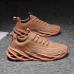 Breathable Fly Woven Mesh Shoes Men Casual Sports Running Shoes, Size: 46(Brown)