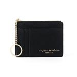 928801 Zipper Ladies Coin Purse Mini Keychain Multi-Card Card Holder(Black)