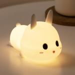 Cute Rabbit Pet Night Light Bedside Nursing Eye Protection Children Sleeping Silicone Lamp(Press Version )