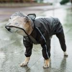 Dog Raincoat Four Foot Waterproof Transparent Reflective Poncho, Size: S(Matte Black)