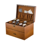 Wooden Double-Layer Watch Storage Box With Lock Jewelry Collection Display Box, Specification: 20 Epitope