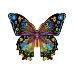 Butterfly Wooden Alien Puzzle Irregular Three-Dimensional Animal Puzzle, Size: M