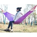 Bending Ice Silk Mesh Hammock Outdoor Hanging Bed Camping  Anti-Sidewall Hammock Swing, Size: 190×130 cm(Purple )