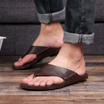 2 PCS Summer Outdoor Beach Sandals Men Wear-Resistant PVC Slippers, Size: 44(Flip Flops Brown)