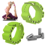 A Pair Outdoor Sports Running Fitness Yoga Load Bracelet Training Plus Heavy Silicone Wristband(Yellow Green)
