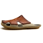 Summer Men Leather Slippers Casual Large Size Flat Beach Shoes, Size: 39(Red Brown)