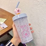 Summer Cartoon Pig Crushed Ice Cup Portable Stirring Straw Cup Cartoon Double Layer Plastic Cup(Glacial Blue)