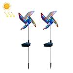 2 PCS / Set Solar Windmill Lamp Outdoor Garden Decorative Light LED Lawn Lamp (Colorful Light)