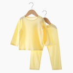 Home Service Two-piece Bamboo Fiber Underwear (Color:Yellow Size:80)