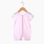 Baby Bamboo Fiber Breathable Short Sleeve Bodysuit (Color:Pink Size:59)