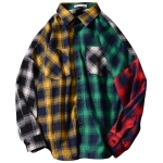 Plaid Long-sleeved Shirt Loose Color Matching Thin Shirt Jacket (Color:Yellow Size:XXXL)