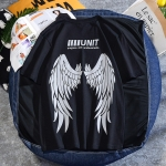 Wings Reflective Round Neck Short-sleeved Loose Printed Cotton T-shirt (Color:Black Size:L)