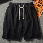 Mens Shorts Straight Casual Sports Pants Loose Solid Color Stretch Five-point Pants (Color:Black Size:S)
