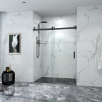 [US Warehouse] Single Sided Sliding Frameless Glass Bathroom Door with Handle, Size: 76 x 60 inch