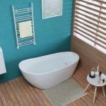[US Warehouse] Acrylic Alcove Boat Shape Freestanding Soaking Bathtub, Size: 55 x 28 x 28 inch