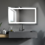 [US Warehouse] Wall-mounted Square Plane Mirror Bathroom Vanity Mirror with Anti-Fog Separately Control & Brightness Adjustment LED Light, Size: 40 x 24 x 1.2 inch