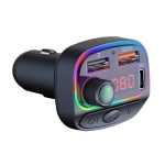 C14 Multifunctional Car Dual QC3.0+PD18W USB Charger Bluetooth FM Transmitter with Atmosphere Light