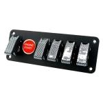 12V Universal Car One-key Start Button Modified Racing LED Light Rocker Switch Panel(Carbon Fiber Black)