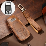 Hallmo Car Cowhide Leather Key Protective Cover Key Case for Audi A6L / A8L / A4 / A7 / A5 A Style (Brown)