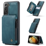 For Samsung Galaxy S21+ 5G CaseMe C20 Multifunctional PC + TPU Protective Case with Holder & Card Slot & Wallet(Blue)
