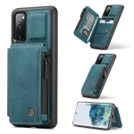 For Samsung Galaxy S20 FE CaseMe C20 Multifunctional PC + TPU Protective Case with Holder & Card Slot & Wallet(Blue)